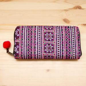モン族刺繍のラウンドファスナー長財布(パープル)/民族ファッション/タイ雑貨