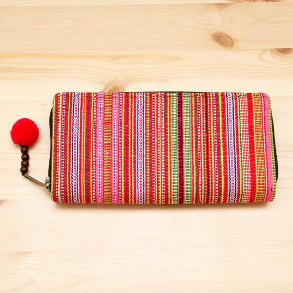 モン族刺繍のラウンドファスナー長財布(オレンジ)/ロングウォレット