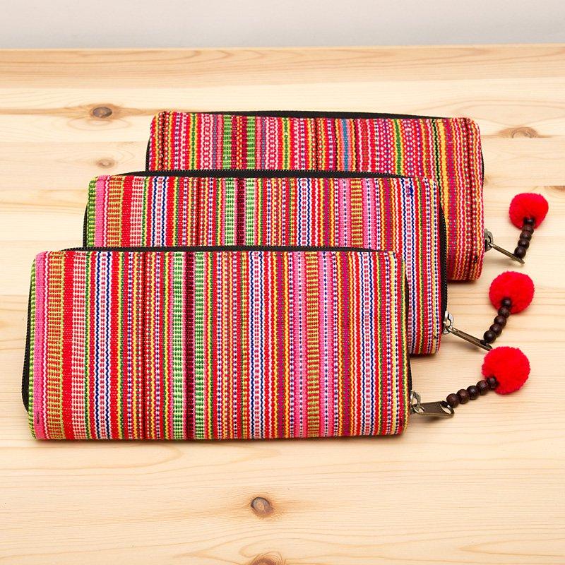 画像3:モン族刺繍のラウンドファスナー長財布(オレンジ)/ロングウォレット