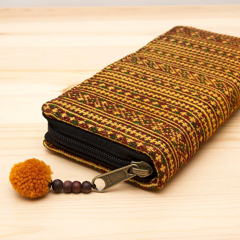 画像2:モン族刺繍のロングウォレット(カーキ)/ラウンドファスナータイプ/民族雑貨