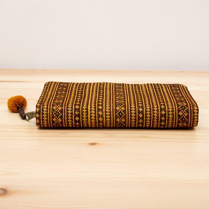 画像3:モン族刺繍のロングウォレット(カーキ)/ラウンドファスナータイプ/民族雑貨