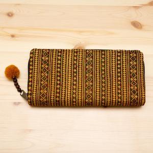 モン族刺繍のロングウォレット(カーキ)/ラウンドファスナータイプ/民族雑貨