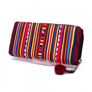 リス族 カラフル刺繍のラウンドファスナー長財布(ワインレッド)