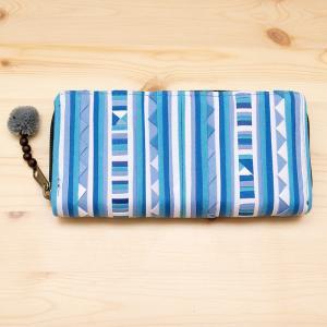リス族モラ刺繍ロングウォレット(クールブルー)/ラウンドファスナータイプ