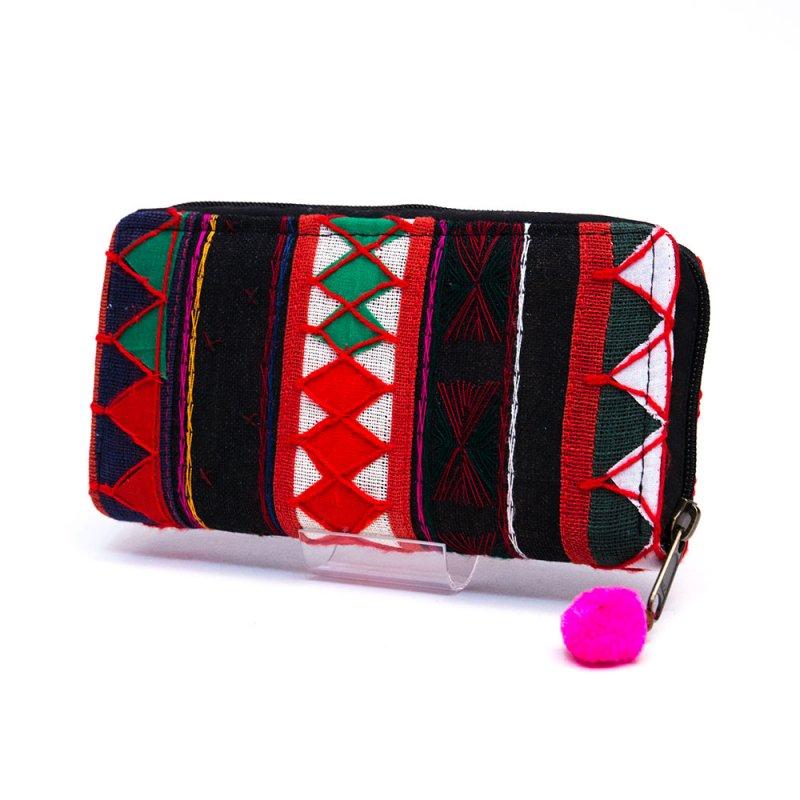 アカ族刺繍の長財布/ラウンドファスナータイプ/一点もの