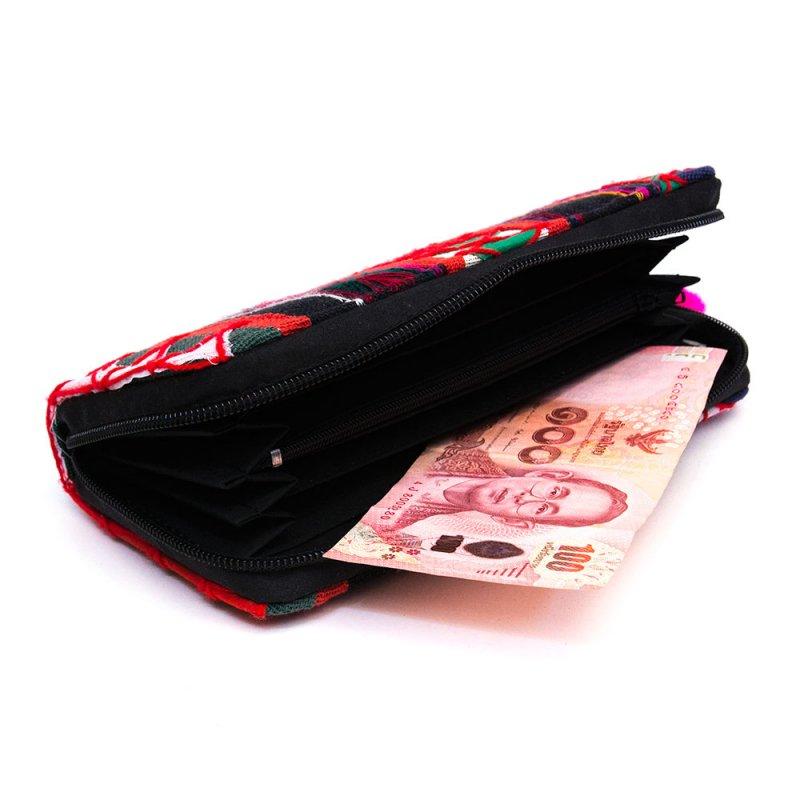 画像2:アカ族刺繍の長財布/ラウンドファスナータイプ/一点もの