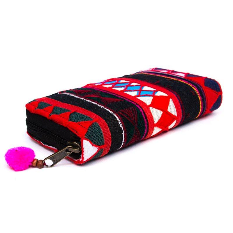 画像3:アカ族刺繍の長財布/ラウンドファスナータイプ/一点もの