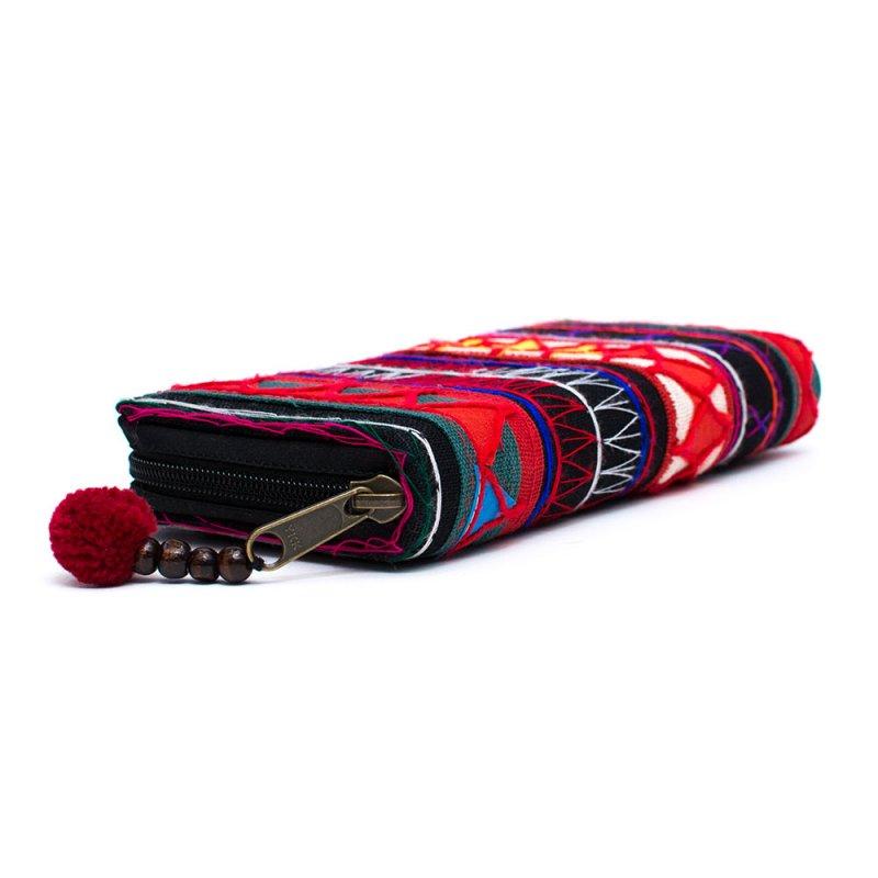 画像2:アカ族刺繍のラウンドファスナー長財布/民族雑貨/一点もの