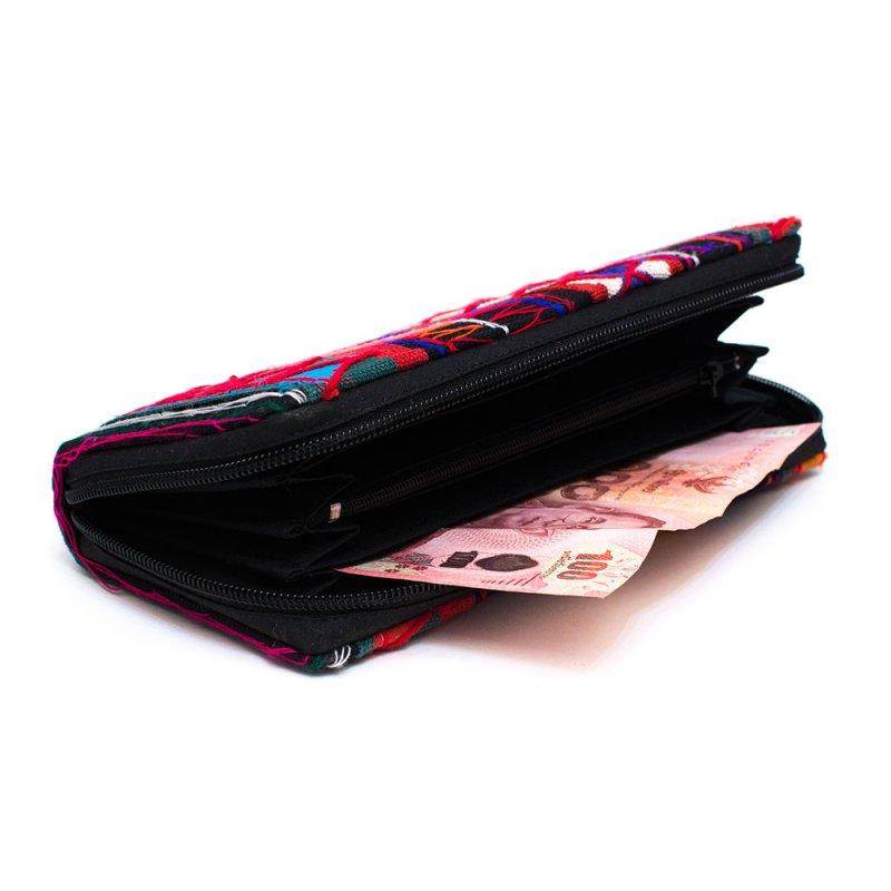 画像3:アカ族刺繍のラウンドファスナー長財布/民族雑貨/一点もの