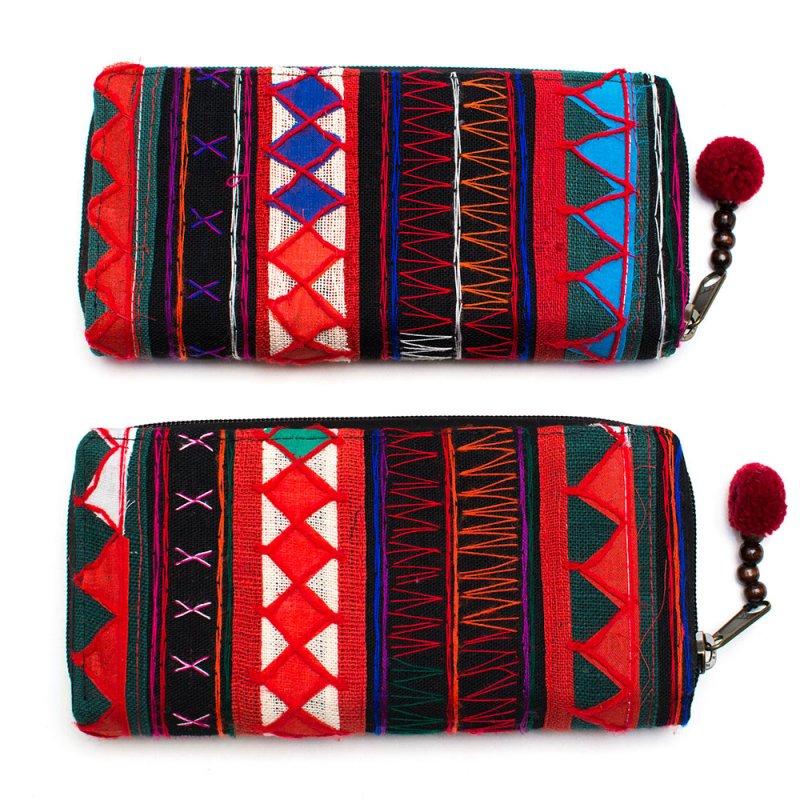 画像4:アカ族刺繍のラウンドファスナー長財布/民族雑貨/一点もの
