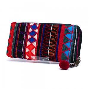 アカ族刺繍のラウンドファスナー長財布/民族雑貨/一点もの