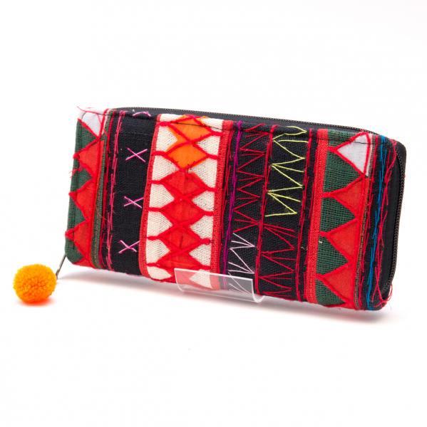 アカ族刺繍のカラフル長財布/民族雑貨/一点もの