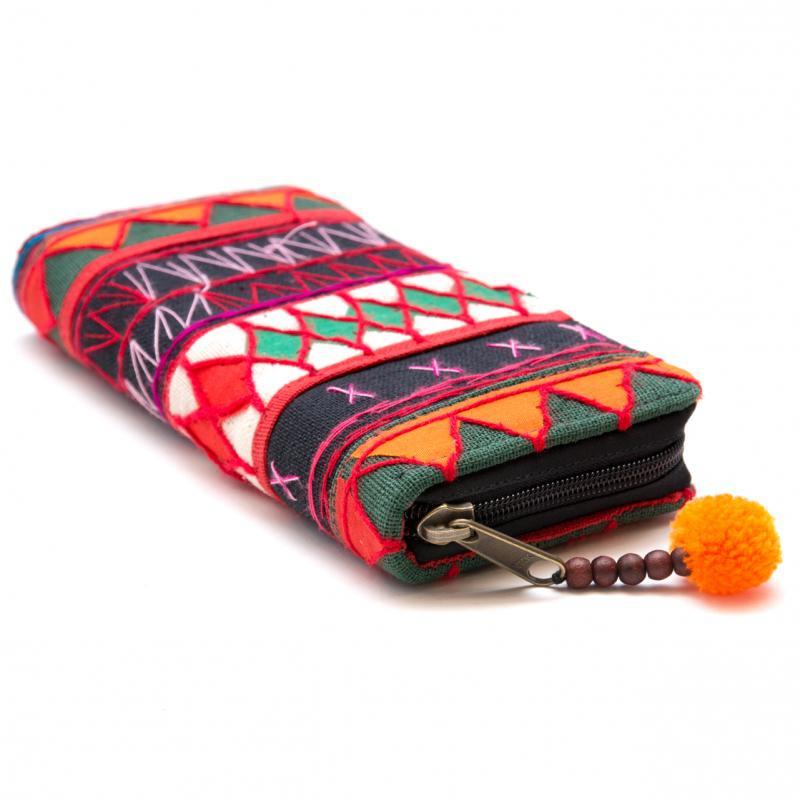 画像2:アカ族刺繍のカラフル長財布/民族雑貨/一点もの