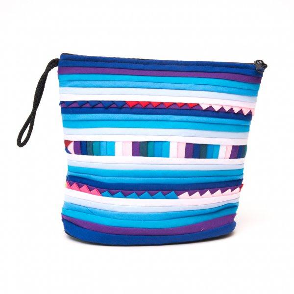 リス族刺繍のマチ付きカラフルポーチ S-size(ブルー)