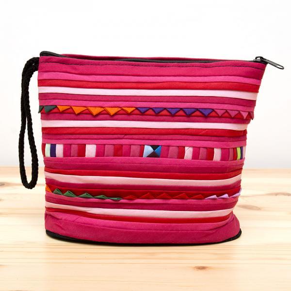 リス族刺繍のマチ付きカラフルポーチ S-size(ピンク)