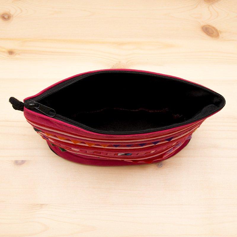 画像4:リス族刺繍のマチ付きカラフルポーチ S-size(ピンク)