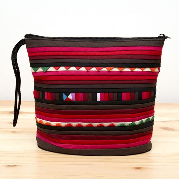 リス族刺繍のマチ付きカラフルポーチ S-size(ワインレッド)