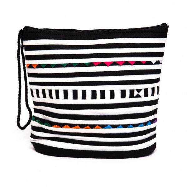 リス族刺繍のマチ付きカラフルポーチ S-size(ホワイト/ブラック)