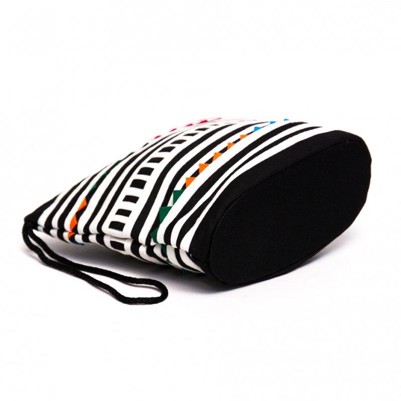 画像3:リス族刺繍のマチ付きカラフルポーチ S-size(ホワイト/ブラック)