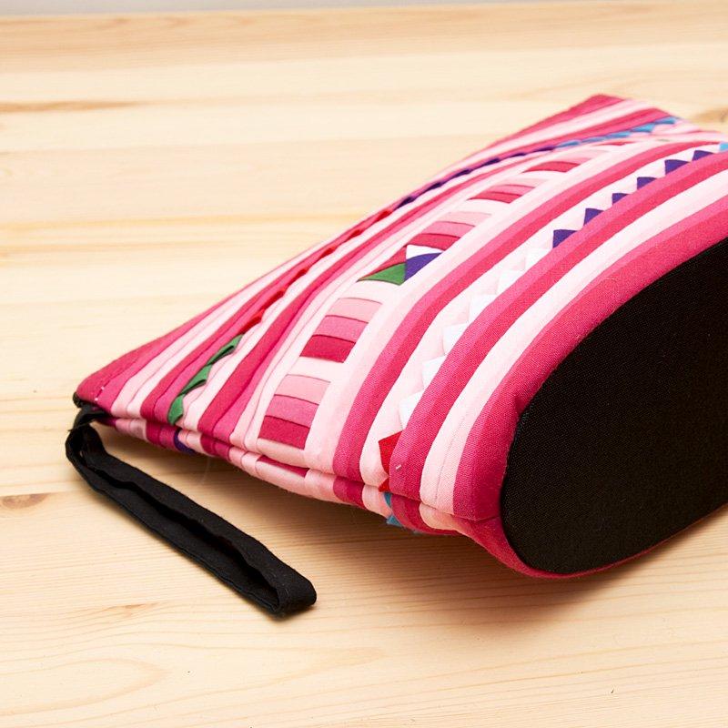 画像3:リス族刺繍のマチ付きカラフルポーチ M-size(ピンク)