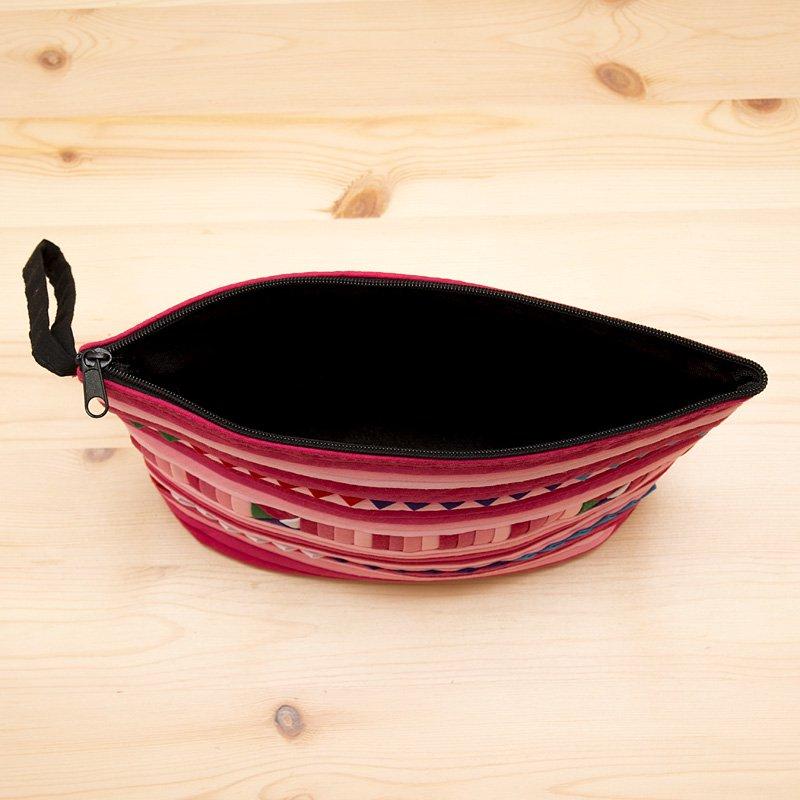 画像4:リス族刺繍のマチ付きカラフルポーチ M-size(ピンク)