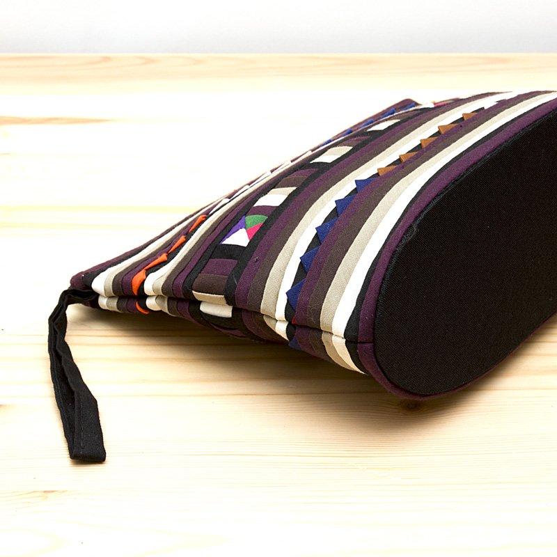 画像3:リス族刺繍のマチ付きカラフルポーチ M-size(ゴールド/ブラック)