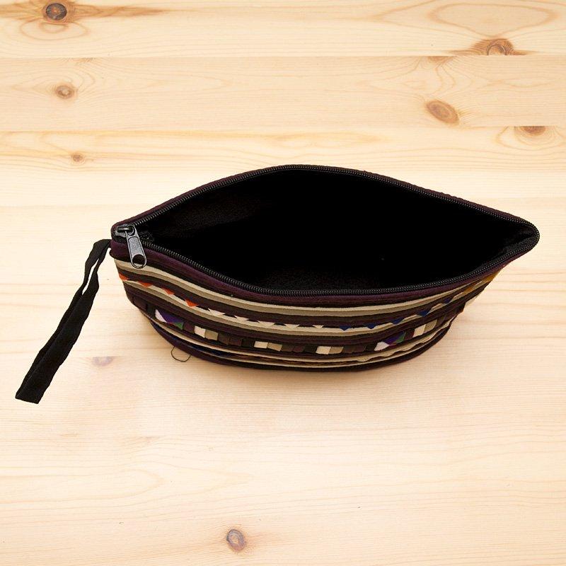 画像4:リス族刺繍のマチ付きカラフルポーチ M-size(ゴールド/ブラック)