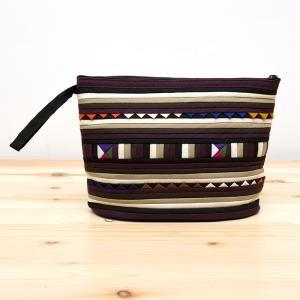 リス族刺繍のマチ付きカラフルポーチ M-size(ゴールド/ブラック)