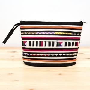リス族刺繍のマチ付きカラフルポーチ M-size(ホワイト/ブラック)