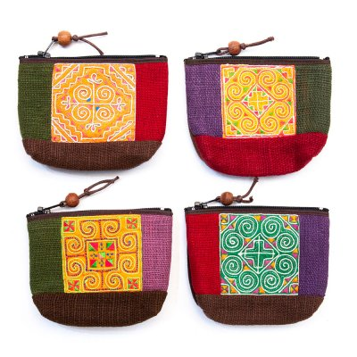 ThongPua 山岳民族 モン族刺繍の小物ポーチ