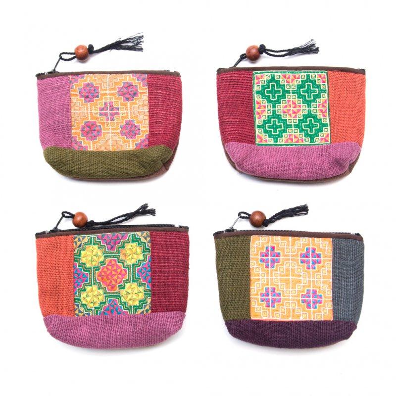 画像4:ThongPua モン族アンティーク刺繍の小物ポーチ Type.1