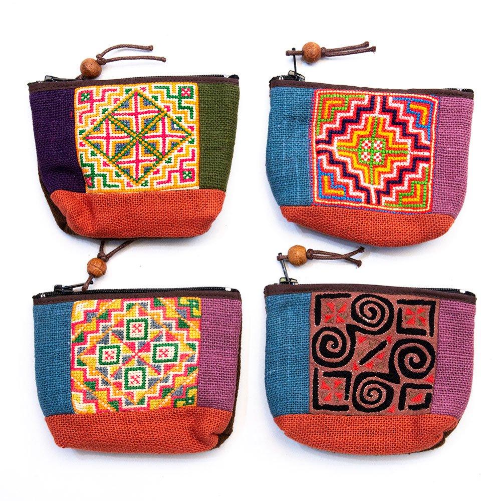 ThongPua モン族刺繍のちょっと渋めの小物ポーチ