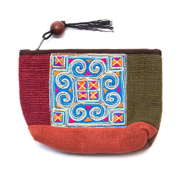 ThongPua モン族アンティーク刺繍の小物ポーチ Type.2