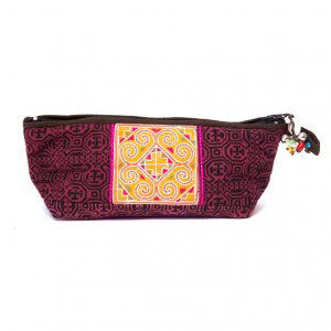 ThongPua 「タイの山岳民族」モン族の刺繍古布ペンケース(ピンク)