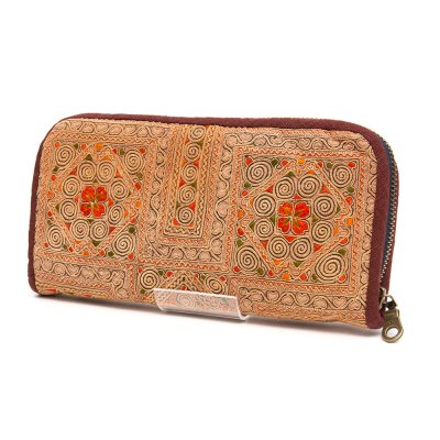 中国モン族 アンティーク刺繍布のロングウォレット(一点もの)