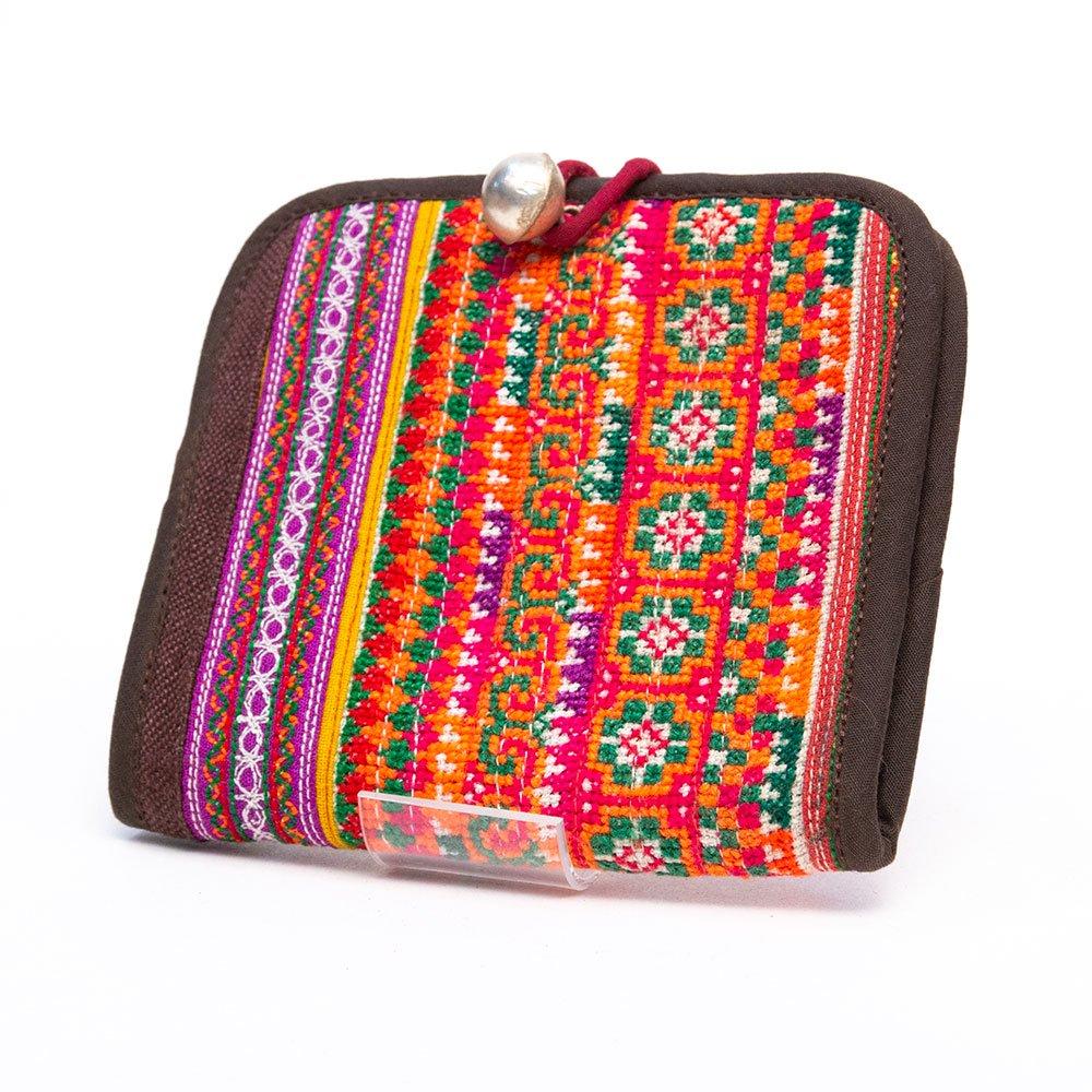 ThongPua 中国モン族(苗族) 刺繍古布の二つ折り財布(一点もの)