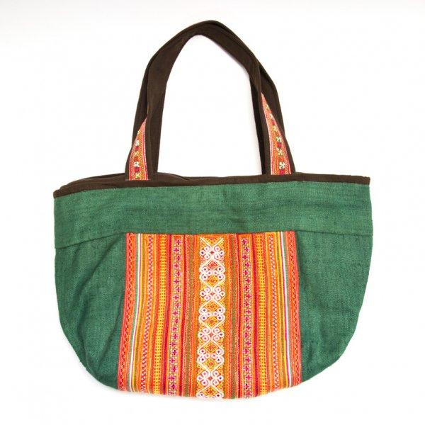 ThongPua モン族ヴィンテージ刺繍のヘンプ(麻)ショルダーバッグ