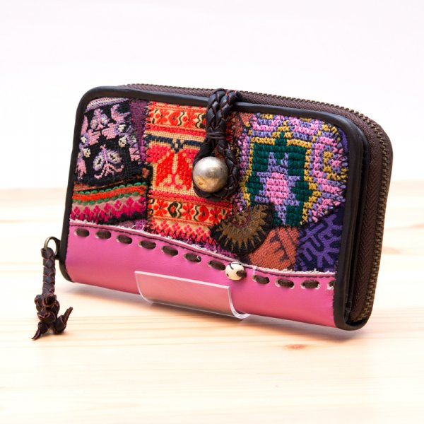 Rangmai モン族刺繍×レザー財布(ピンク)
