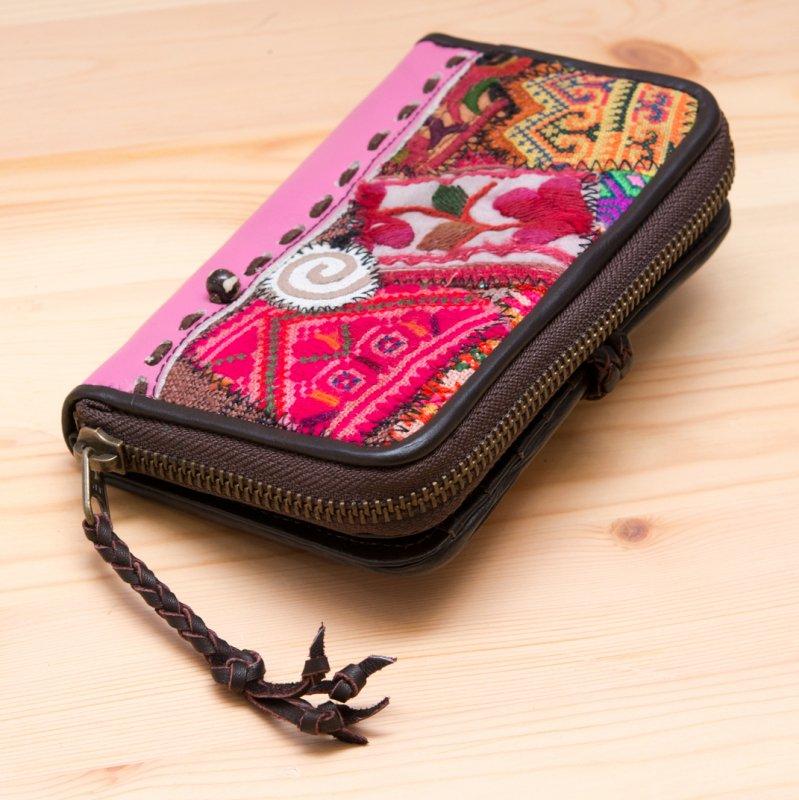 画像4:Rangmai モン族刺繍×レザー財布(ピンク)/革/デザイナーズブランド