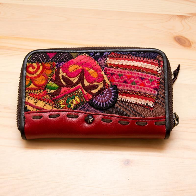 画像2:Rangmai モン族革財布(レッド)/モン族手刺繍/デザイナーズブランド