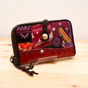 Rangmai モン族革財布(レッド)/モン族手刺繍/デザイナーズブランド