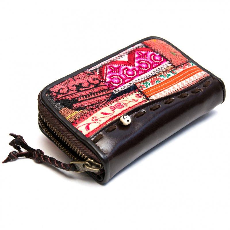 画像4:Rangmai モン族ヴィンテージ刺繍レザーウォレット(ダークブラウン)