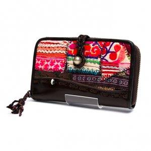Rangmai モン族ヴィンテージ刺繍レザーウォレット(ダークブラウン)