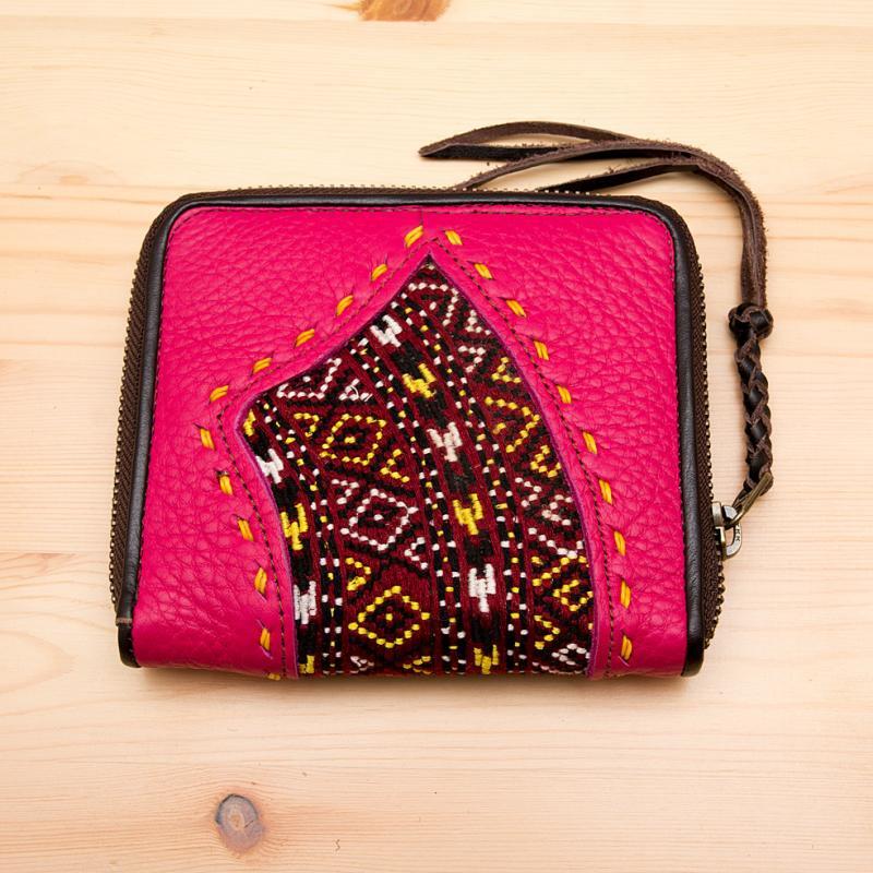 画像2:Rangmai モン族刺繍×レザーの二つ折り財布(ピンク)/古布/デザイナーズブランド