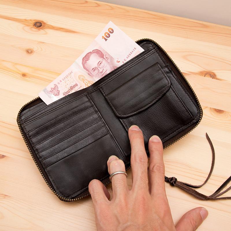 画像3:Rangmai モン族刺繍×レザーの二つ折り財布(ピンク)/古布/デザイナーズブランド