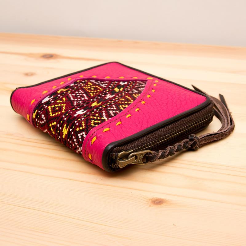 画像4:Rangmai モン族刺繍×レザーの二つ折り財布(ピンク)/古布/デザイナーズブランド