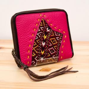 Rangmai モン族刺繍×レザーの二つ折り財布(ピンク)/古布/デザイナーズブランド