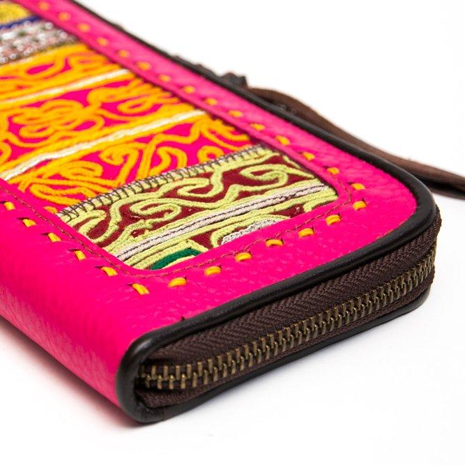 画像3:Rangmai アフガニスタン刺繍古布の革製ロングウォレット(ピンク)