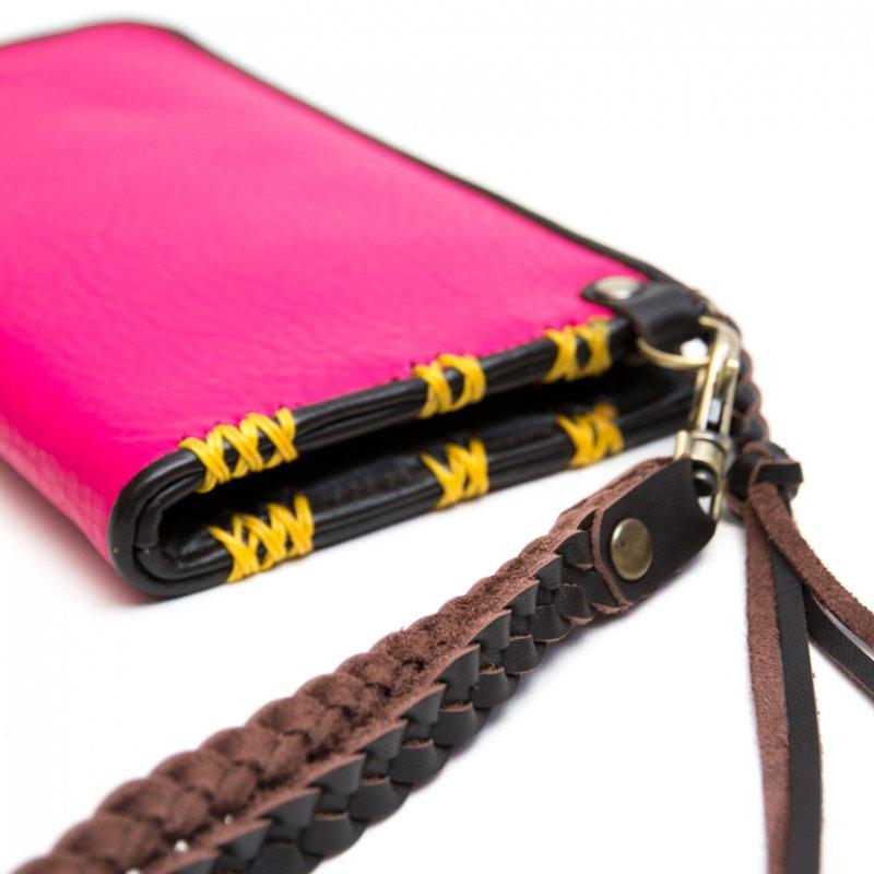 画像4:Rangmai アフガニスタン刺繍古布の革製ロングウォレット(ピンク)