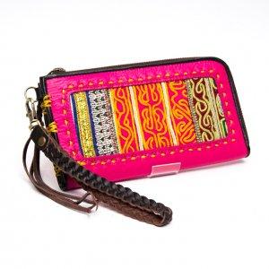 Rangmai アフガニスタン刺繍古布の革製ロングウォレット(ピンク)